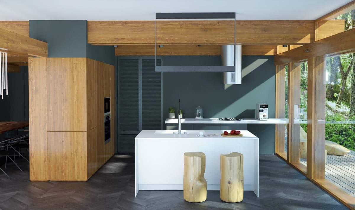 Option for kitchen interior design dark floor by Lera Bykova