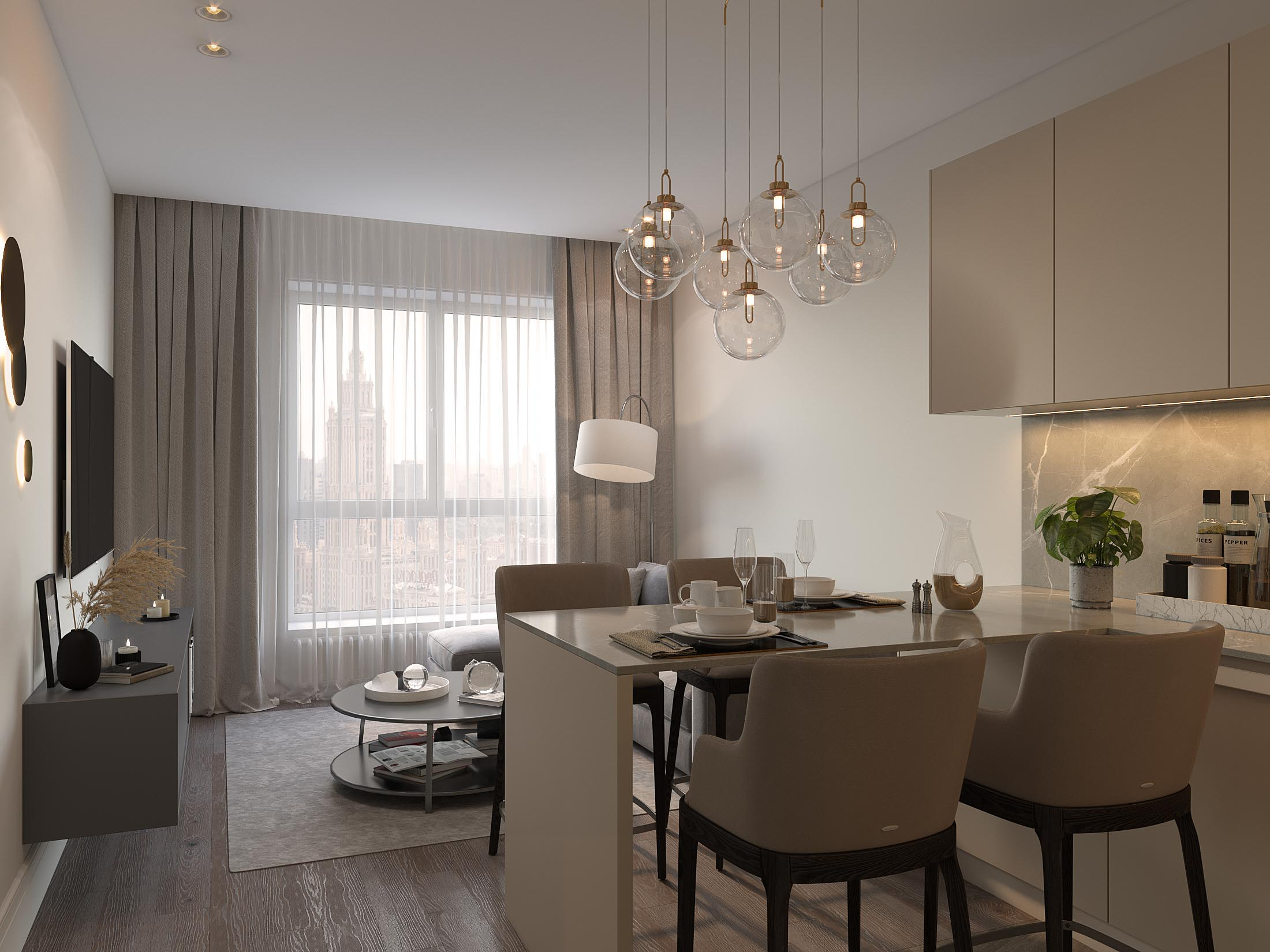 Option for kitchen and living room interior design by Lera Bykova