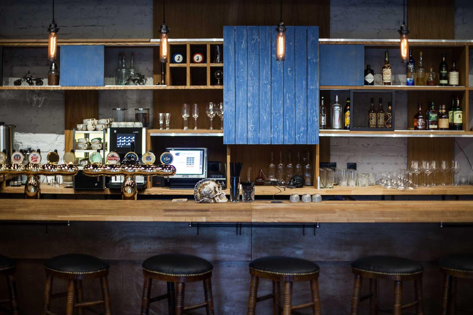 Details of the bar slide doors