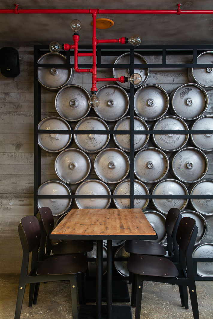 Details of the wall from beer barrels