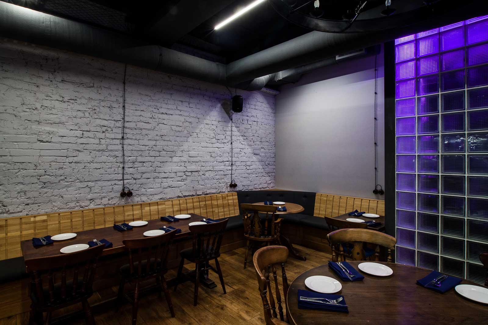 Galss blocks with violet light