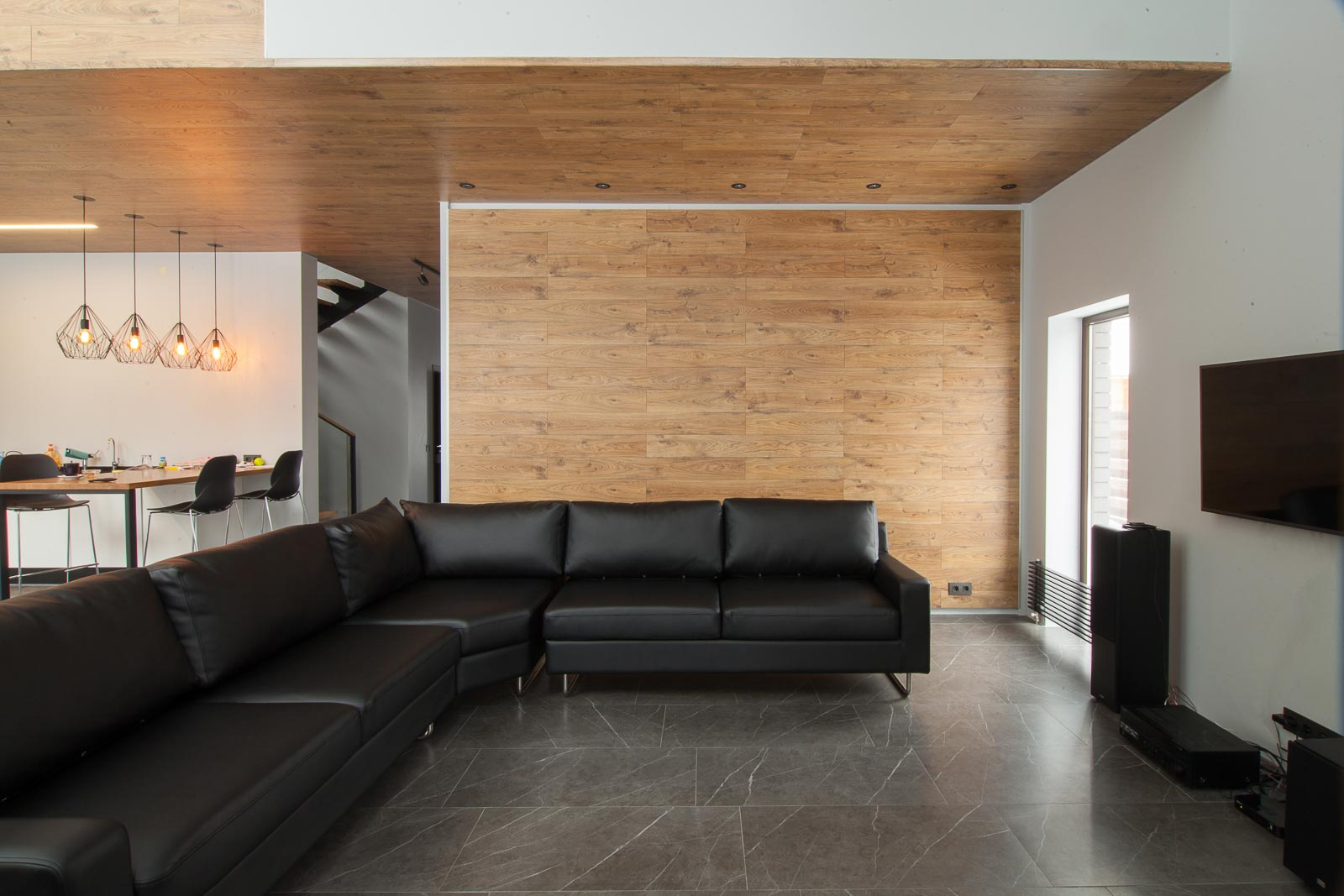 Interior design of the living room with wooden ceiling
