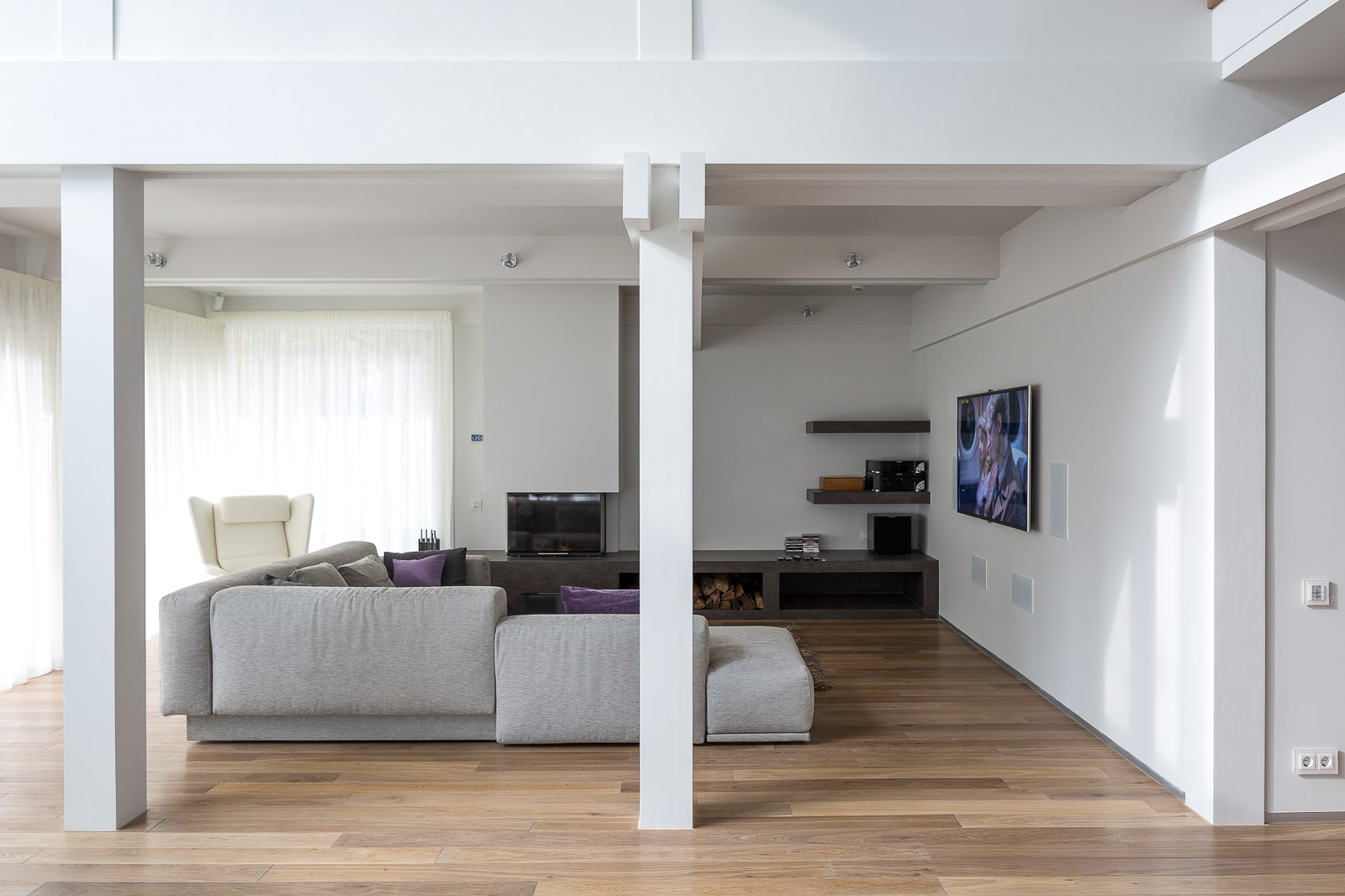 Interior of living room in white colors