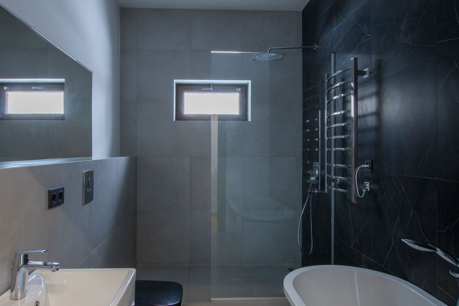 Interior with the window in the shower