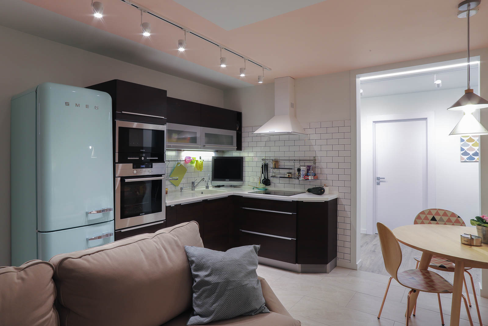 Kitchen with smeg fridge