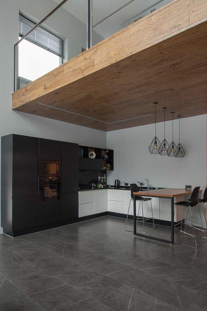 Kithen interior design with wooden ceiling