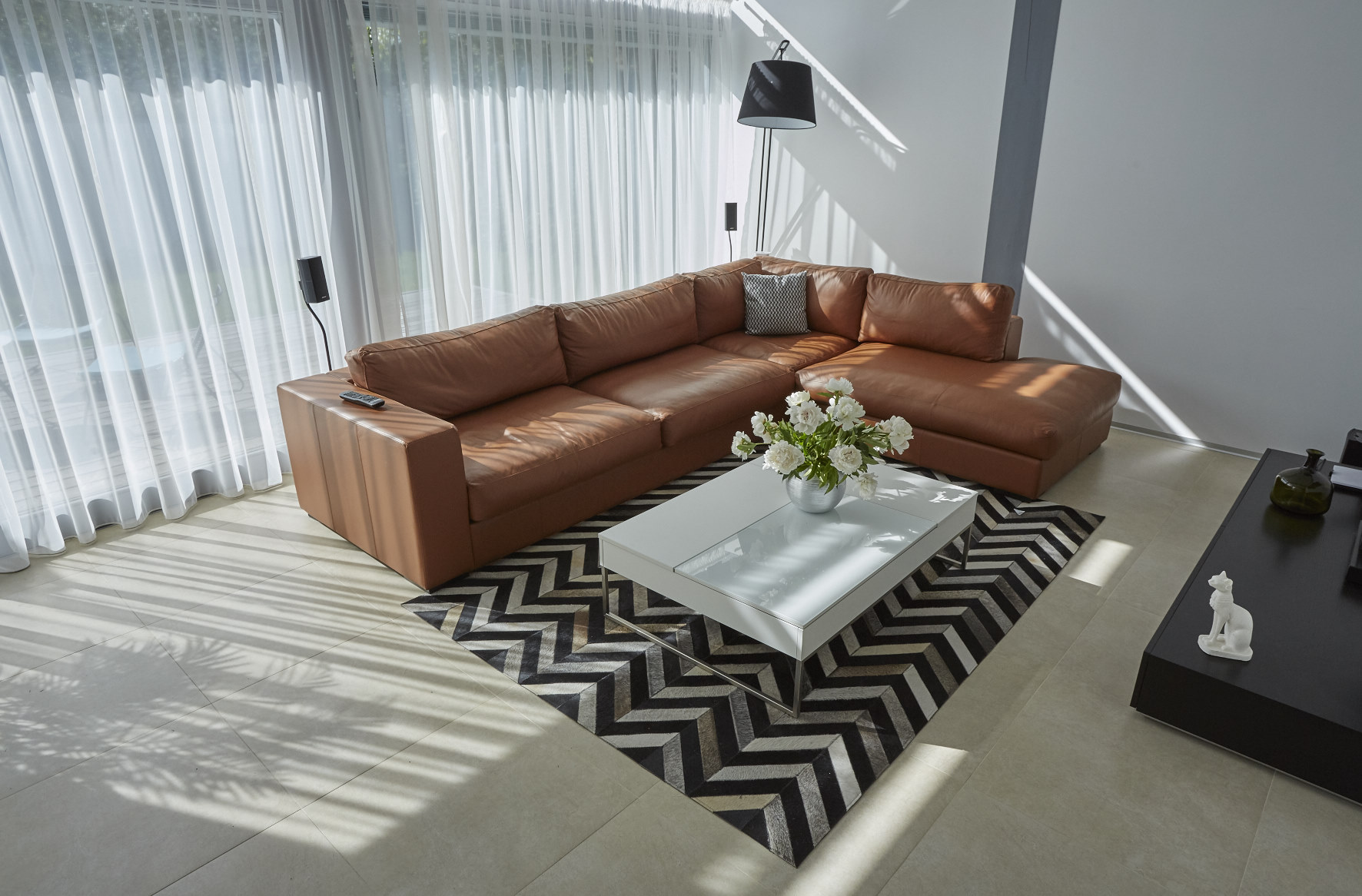 Light brown sofa in the interior