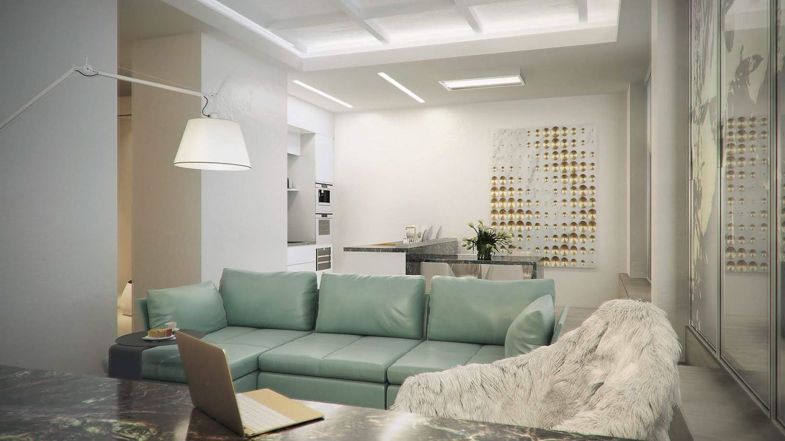 Living room with green sofa