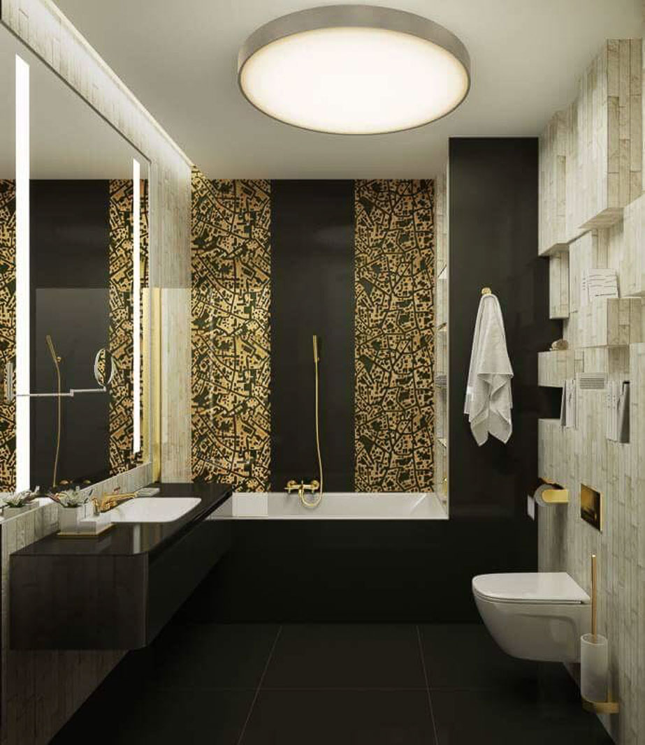 Main bathroom gold and brown