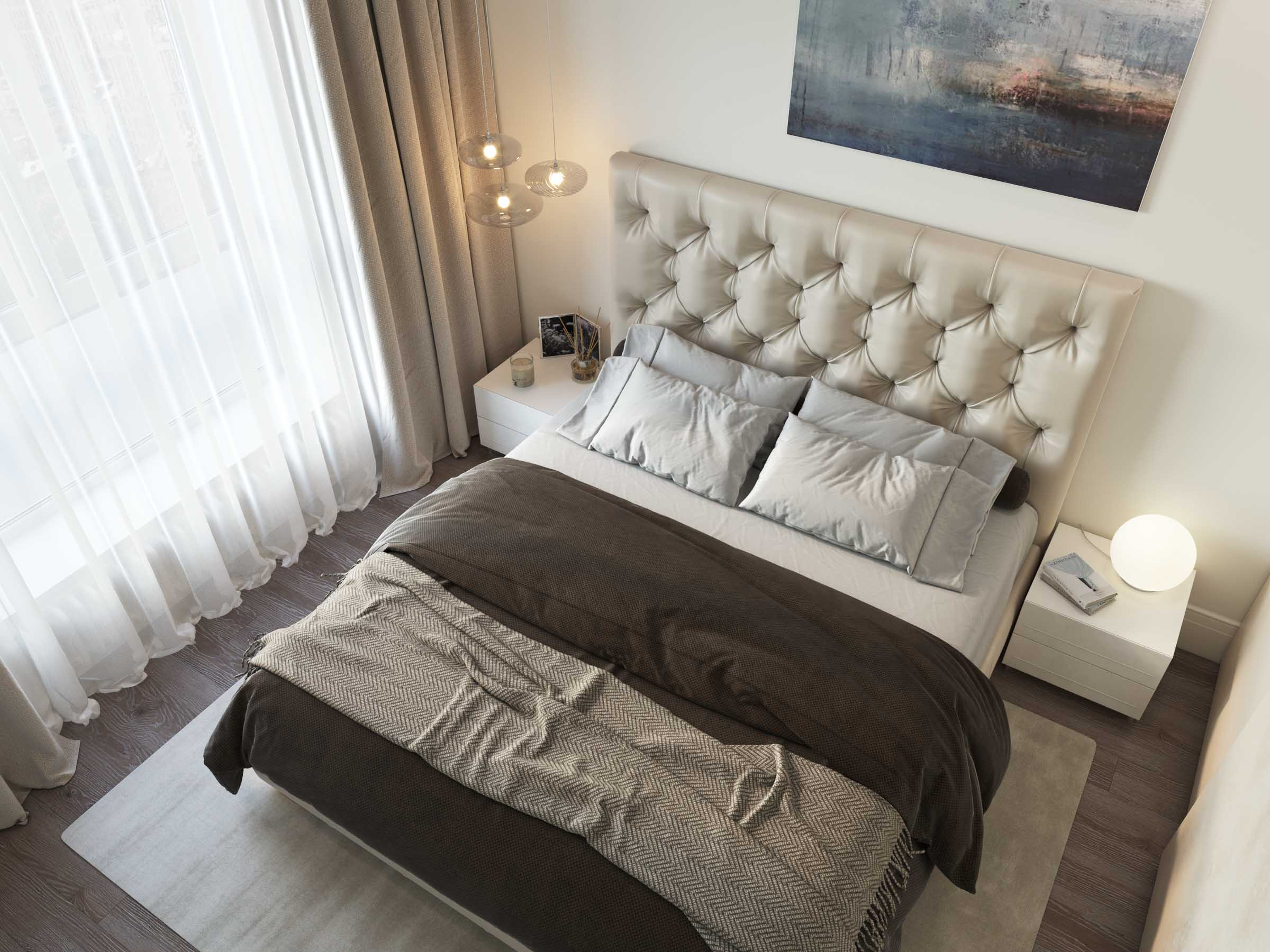 Master bedroom interior design by Lera Bykova