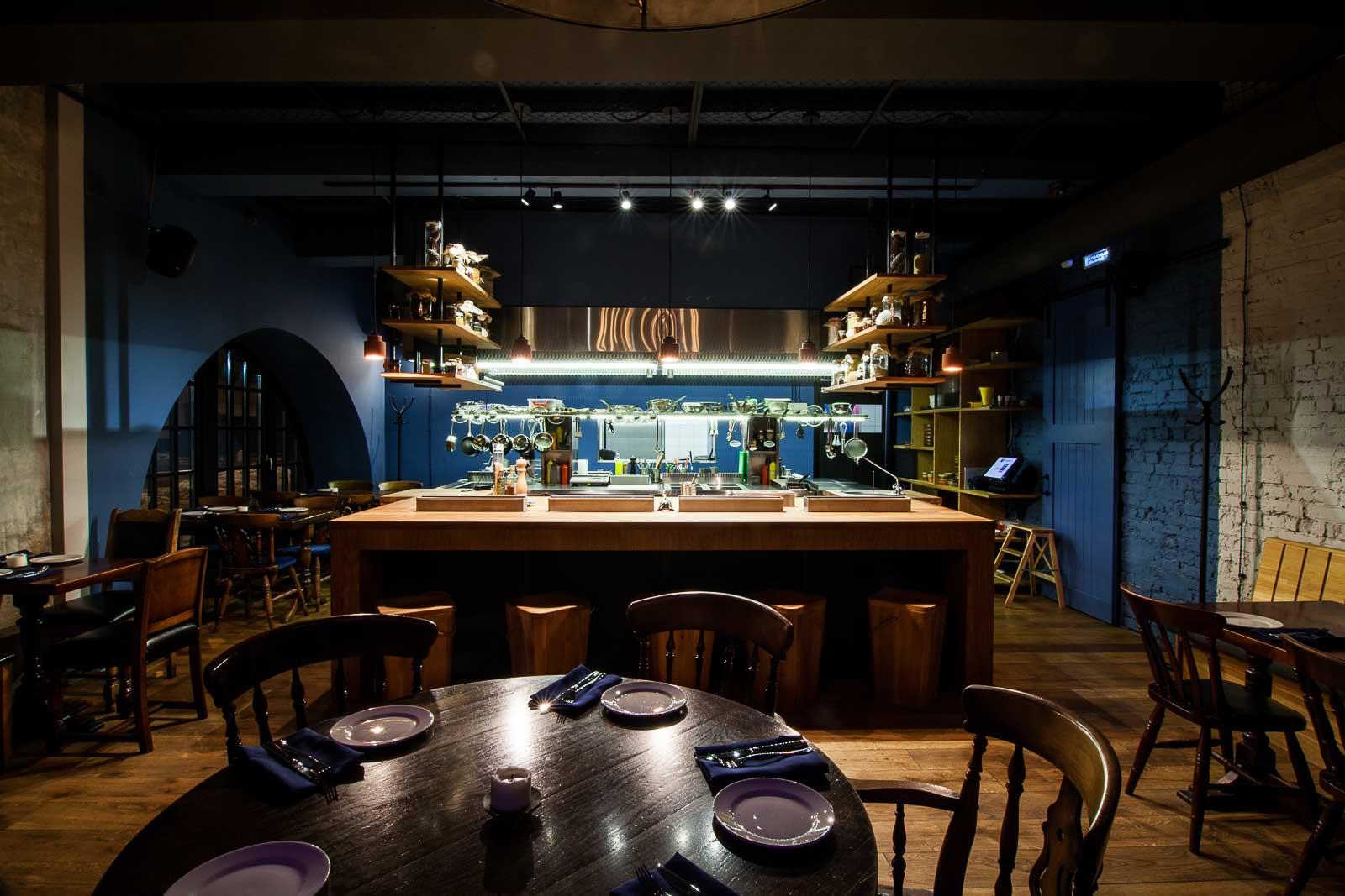 Open kitchen in the restaurant