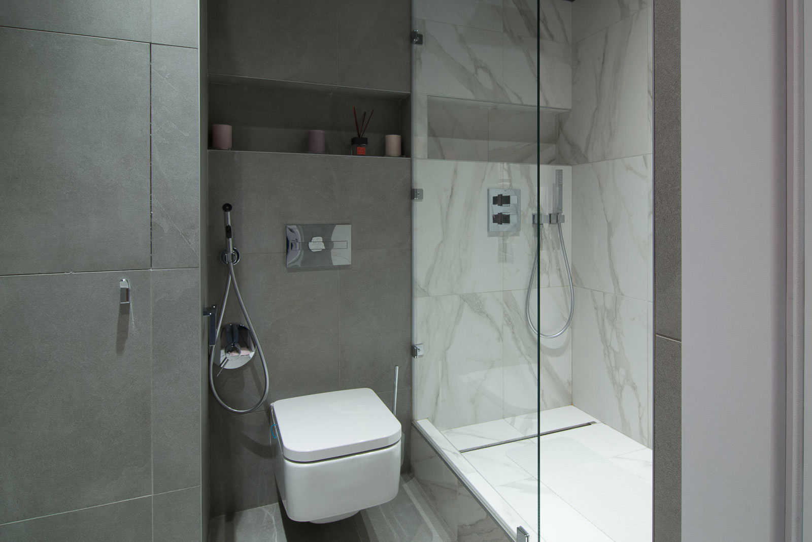 Shower from white marbel tiles
