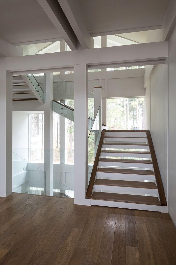 Stairs with glass rails