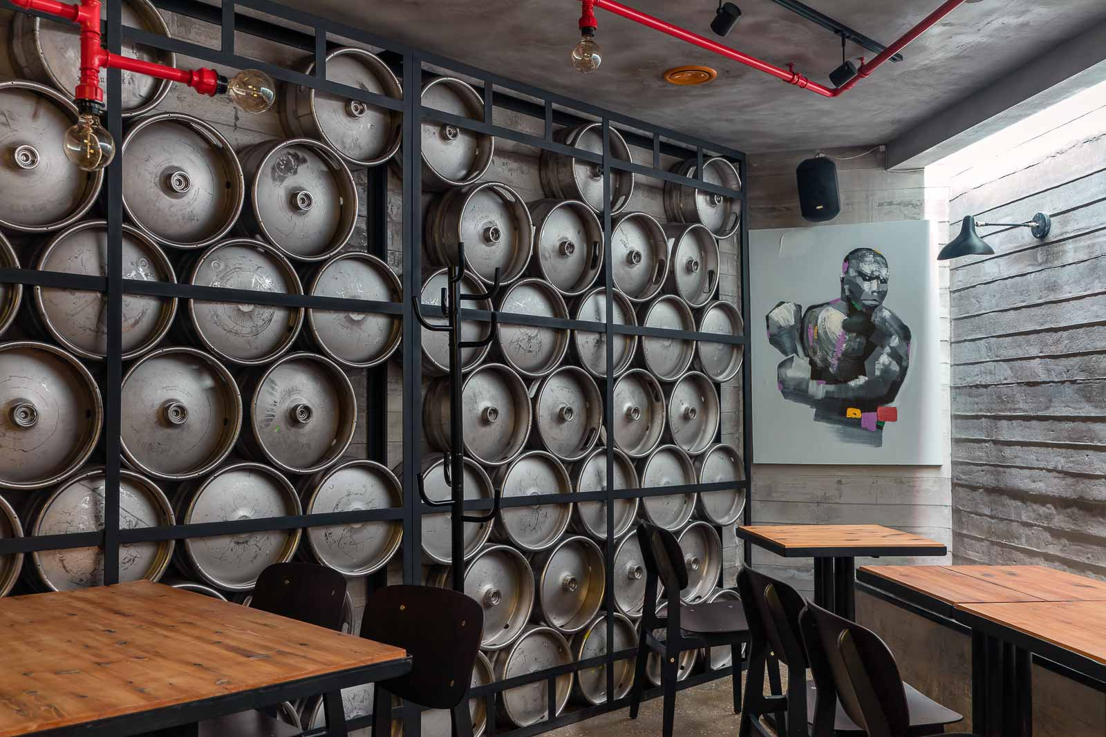 Wall from beer barrels